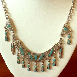 Jewelry - Native American silver turquoise necklace